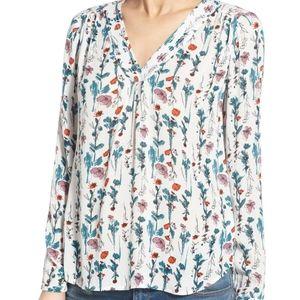 Hinge Floral V Neck Top Women's Size XS
